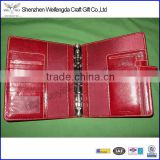 Classic red leather planner organizer binder notebook cover ring binder