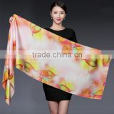 wholesale manufactory magneficent oil printing style crepe satin pure silk scarf ,magic colorful large silk shawl                                                                                                         Supplier's Choice