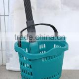 2016 hot sale wholesale plastic shopping cart/trolley basket with castors colors customized factory manufacturer suppliers