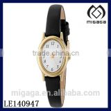Fashion oval case brass leather strap quartz watch for women/Women's Brass Watch with Leather Band
