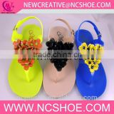 factory wholesale crystal jelly shoes with flower