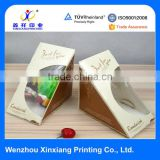 food grade take away pyramid shaped with clear window sandwich paper boxes in paper cups