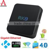 China blue film video media player RK8 android 5.1 lollopop Rockchip RK3368 set top box dual band wifi 1000M Ethernet