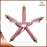 Pink Suede Tassel With gold Caps For jewelry Accessories                                                                         Quality Choice