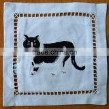 Hand embroidered lavender sachet/bag/pillow-cat(design #64)