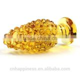 New Design Golden Women Jewelry Sex Pyrex Glass Anal butt Plug