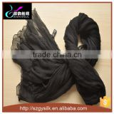 black color crepe georgette long silk scarf