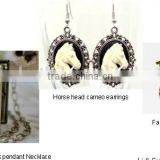 Fashion metal Horse head cameo book pendant Necklace with earring and brooch jewelry set