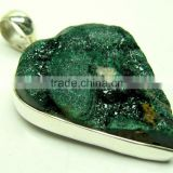 Malachite Pear Rough Gemstone Pendant, 925 Solid Sterling Silver Pendants, Designer Bezel Pendant