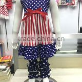 2016 Wholesale China baby outfit American Flag 4th July girls children clothes set giggle moon remake boutique outfits
