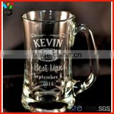 "Unique father's day gift "" best man "" custom etched inspired beer mug with handle"
