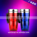2015 new design plastic travel mug premium inner stainless steel coffee mug promotional water mug