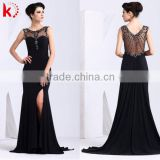 Sexy see-through backless sleeveless beaded floor length formal lace neck piece black evening dress