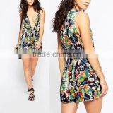 OEM service latest design summer sleeveless plunge fashion floral printed romper womens playsuit