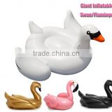 2016 Fashion Swan Swimming Float Giant Pink Flamingo Vinyl Pool Float Inflatable Novelty Water Inner Tube Swimming Ring