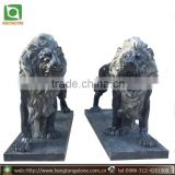 Hand Carved Black Marble Garden Lion Statues