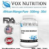 African Mango Pure 500 mg Supplement, 30 Count - Private Label African Mango Pure Supplement