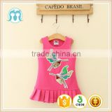 dress girls casual available kids plicated hemline pink birds pattern embroidery clothing