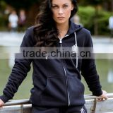 Navy Tracksuit Tops 100% Cotton Fleece Full Zip Hoodie Jacket Gym Fitted Hoodie Wholesale Top Quality Women's Tracksuits