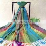 Latest design lady elegant colorful peacock custom logo winter shawl pashmina scarf with tassels