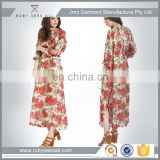 OEM sexy lady casual chiffon long sleeve maxi dress new western floral printed design low moq 2016
