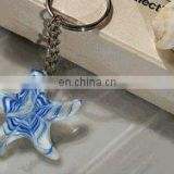Murano Inspired Art Deco Blue Starfish Keychain Beach Wedding Favors