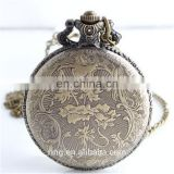 New Arrival Fashion European Style Large Size Motorcycle Relief Flower Quartz Unisex Pocket Watch Jewelry For Gift