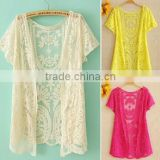 Instyles Summer Hollow-Out womens lace blouses in Embroidery Floral Crochet Short Sleeve Cardigan boutique clo Clothing