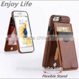 Leather Flip Mobile Phone Cover Card Slot TPU Back Cell Phone Case for iPhone6/6s/6 plus