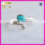 Hot sterling silver jewelry turquoise stone ring wholesale white gold plated adjustable gemstone ring