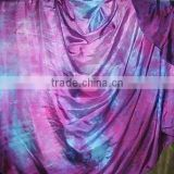 Turquoise-Purple semi cricle batik Belly dance silk veils handmade tie dye with hemmed on 2 sides