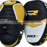 RDX Leather Focus Pads Hook and Jab Boxing Kick Curved MMA Bag Mitts Training FL