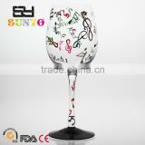 Clear leadfree black base bottom colored music decal large wine glass set holiday gift