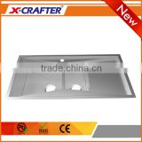 Factory cheap price kitchen equipment one hole stainless steel double bowl sink with drainboard
