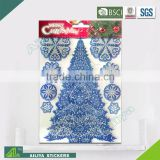 BSCI factory audit Christmas tree 3D Eco-friendly decorative removable gold glitter stickers