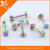 rainbow magnetic body flat 316l stainless steel lip piercing jewelry