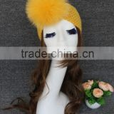 Factory directly wholesale price knitted yellow headband raccoon fur scarf with fur ball