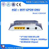 4GE Data Port +WIFI GPON ONT 2T2R 2 Internal Antennas Wireless ONU with CE Certification