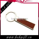 special zinc alloy and leather keychain/ customer blank promotional metal keyring