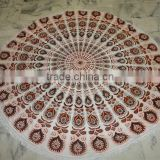 Indian Cotton Mandala Roundie with fringe mandala Beach Throw Yoga Mat Round Tapestry Indian Decor Wall Throw