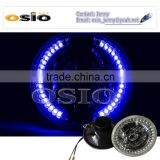7'R BMC CRYSTAL GLASS with Blue LED HALO RING 12V/24V Auto Halogen Semi Sealed Beam Auto Halogen Lamp Install H4 or HID