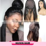 360 lace frontal closure with wig cap and strap,Brazilian virgin remy hair from one donor