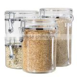 4-Piece Acrylic Canister Set with Airtight Clamp Lids and Acrylic Spoons-Food Storage Container(FS-A-075)