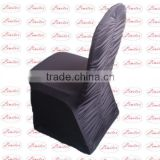 Polyester lycra spandex stretch black plicated corrugated crinkle chair cover hotel banquet wedding