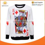 Winter Fall Fashion Long Sleeve Funny Loose Hoodies Pullover Sweaters Poker King Print Sweatshirt
