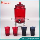New Design Red And Black Drink Glass Beverage Dispenser With Cups And Rack