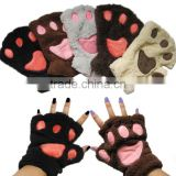 different cute design plush animal glove bear paw glove