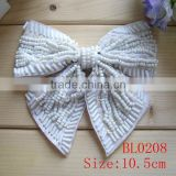 10.5cm Handmade sewing bead ribbon bow appliqeue for dress