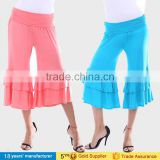 OEM wholesale casual High waist knee length capri palazzo pants ruffle wide leg gaucho pants for women