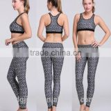The new ladies fashion printing yoga suit speed dry running workout bra and leggings yoga wear set wholesale for women